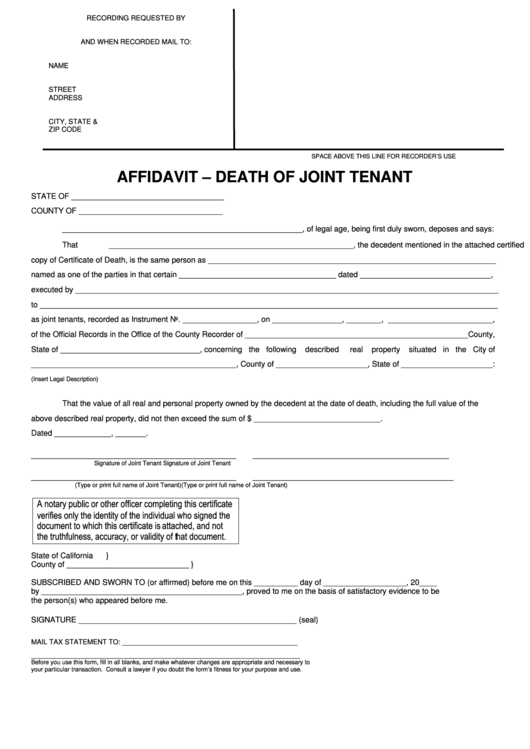 Fillable Death Of Joint Tenant Affidavit Form Printable