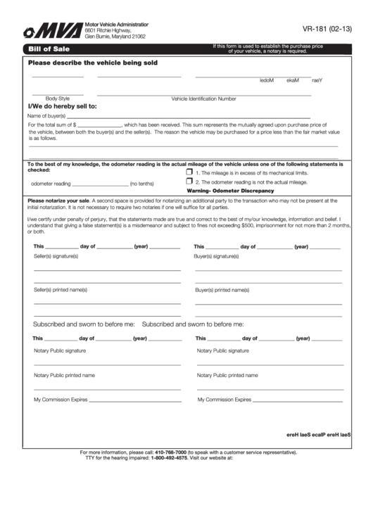 Fillable Form Vr-181 - Bill Of Sale printable pdf download