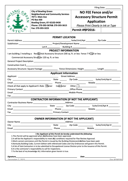 Fillable No Fee Fence And/or Accessory Structure Permit Application Form - City Of Bowling Green Printable pdf