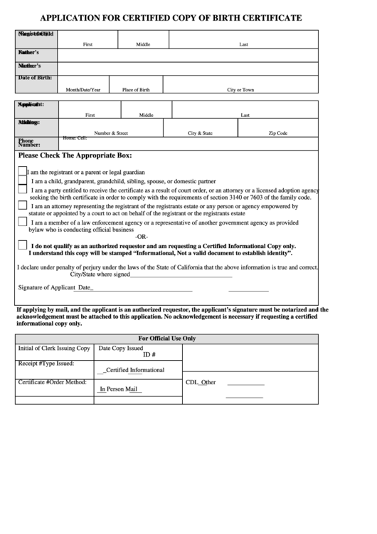 Fillable Application For Certified Copy Of Birth Certificate ...