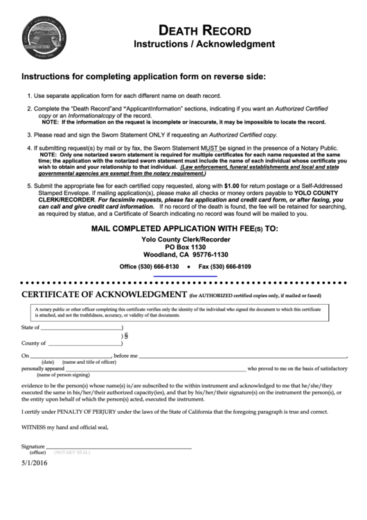 request for a death certificate template