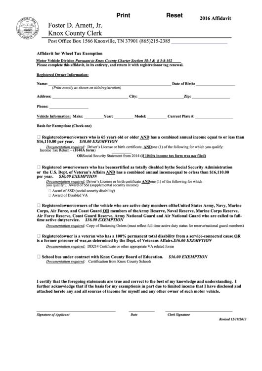 Fillable Affidavit For Wheel Tax Exemption Form - Knox ...