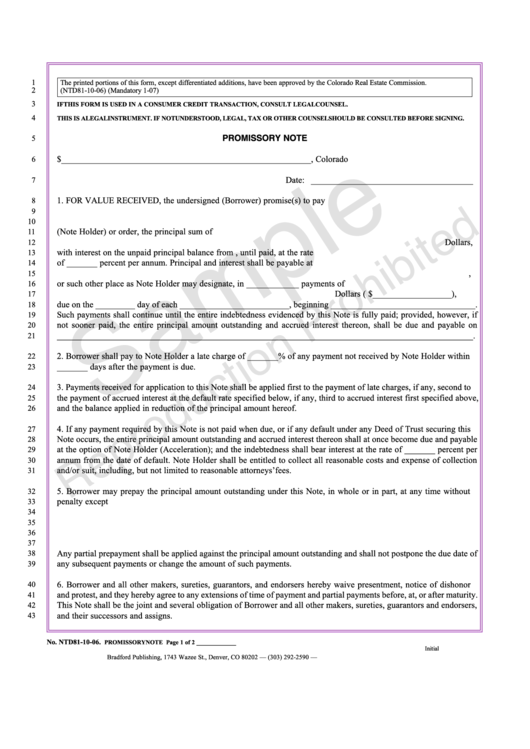 promissory note form colorado real estate commission