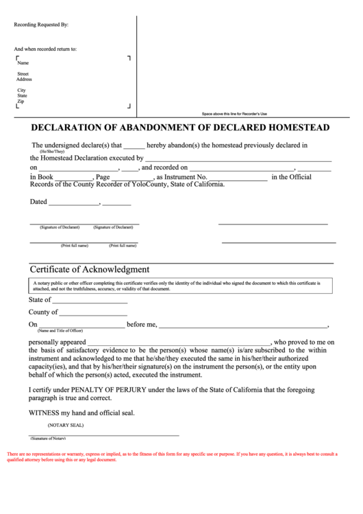Declaration Of Abandonment Of Homestead Form printable pdf download