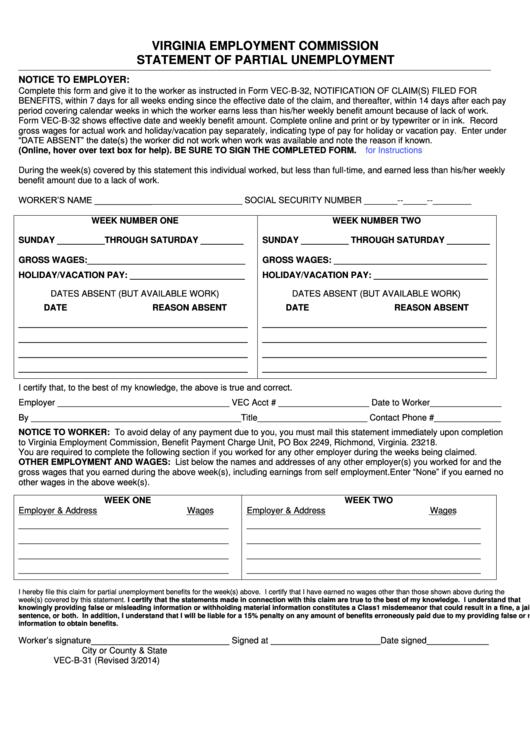 Fillable Form Vec B 31 Virginia Employment Commission