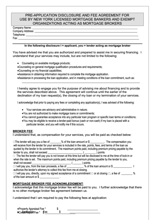 preapplication disclosure and fee agreement template