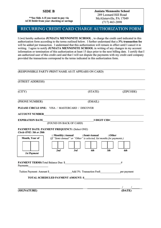 recurring credit card charge authorization form printable