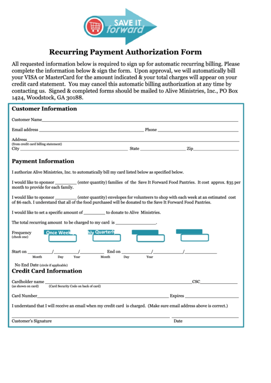 intuit recurring payment authorization form editable fillable