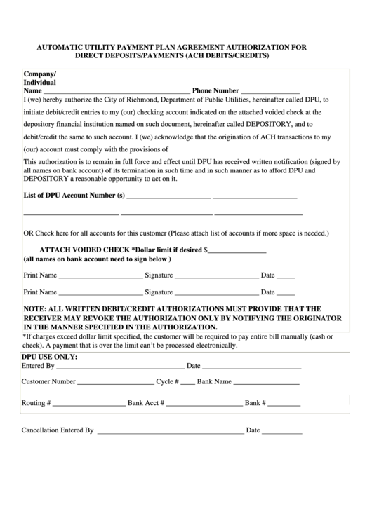 Automatic Utility Payment Plan Agreement Authorization For Direct Deposits/payments (ach Debits/credits) Form - City Of Richmond, Department Of Public Utilities