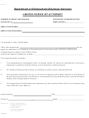 Form Dfc041 - Limited Power Of Attorney Form - Department Of Employment-employer Services