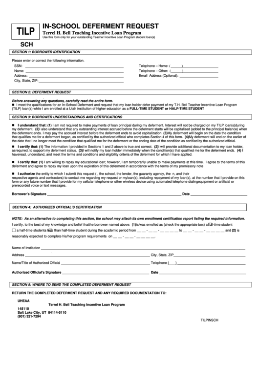 In-School Deferment Request Form printable pdf download