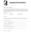 Emergency Phone Numbers List Form