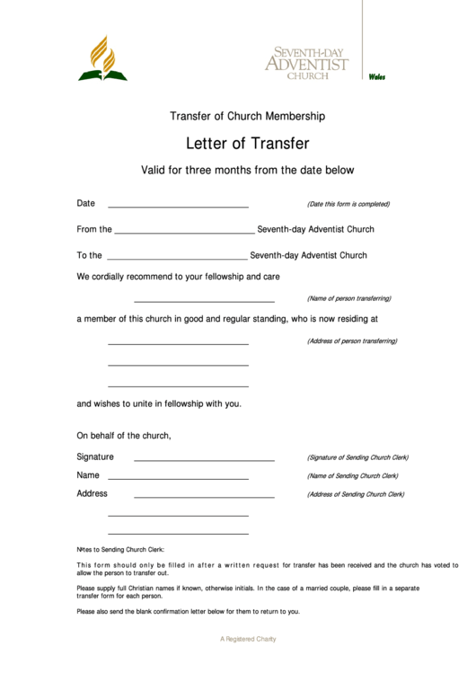 letter of church membership transfer template printable