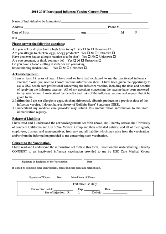 Inactivated Influenza Vaccine Consent Form 2014 2015