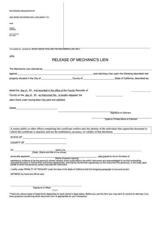 fillable release of mechanics lien form state of