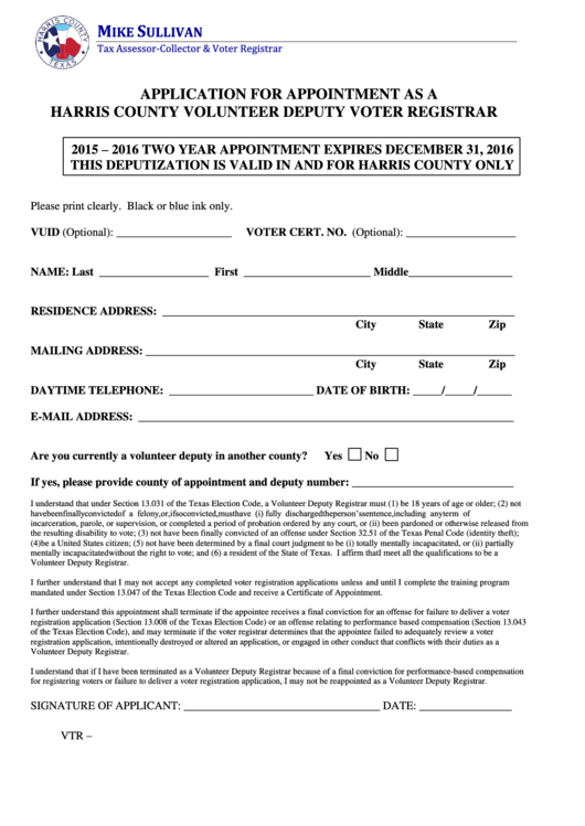 Application For Appointment As A Harris County Volunteer Deputy Voter Registrar Form