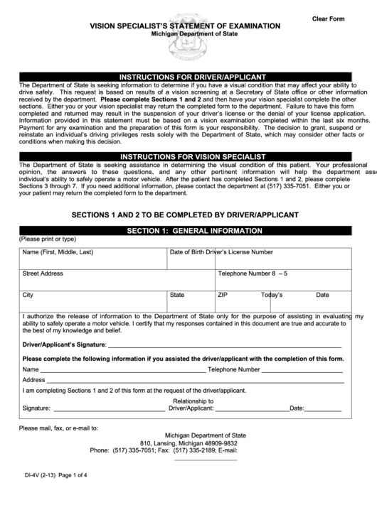 Di-4v Vision Specialist Statement Of Examination Form