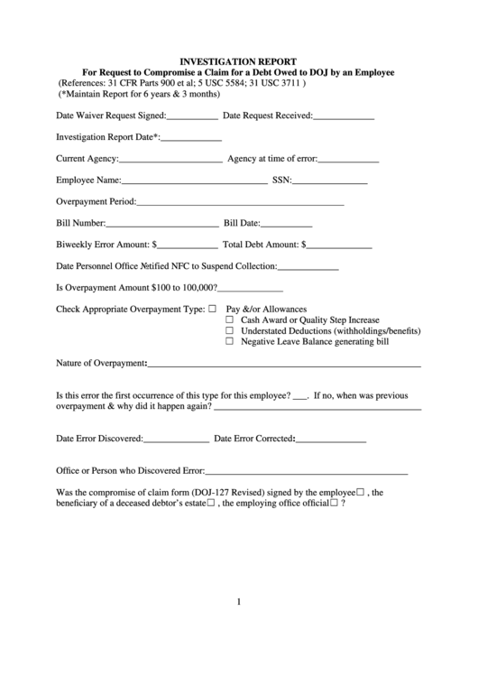 Fillable Form Doj-Jmd-Fs-2 Investigation Report Form Printable pdf