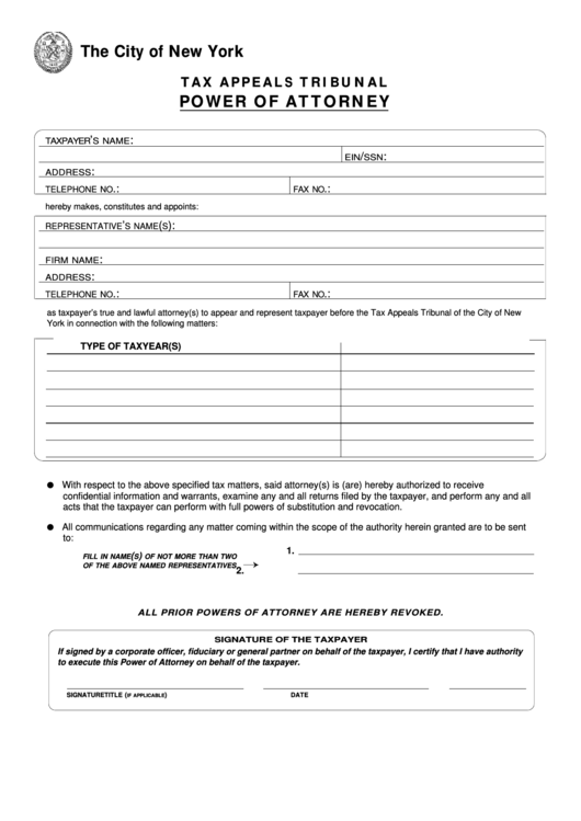 Fillable Form Tat Poa - Tax Appeals Tribunal Power Of Attorney - City Of New York Printable pdf