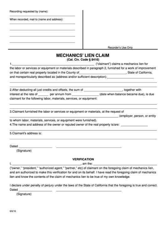 State Of California Mechanics' Lien Claim Form
