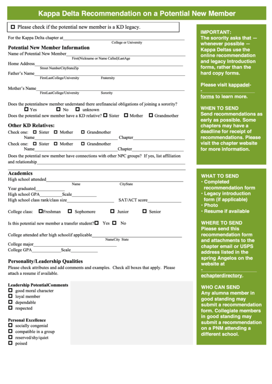 kappa delta recommendation on a potential new member form