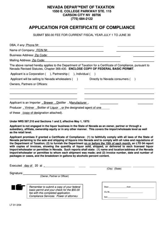Nevada Revised Statutes >> Form Lt 01 - Application For Certificate Of Compliance ...