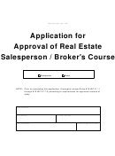 Form 36071 - Application For Approval Of Real Estate Salesperson / Broker's Course - Indiana Real Estate Commission
