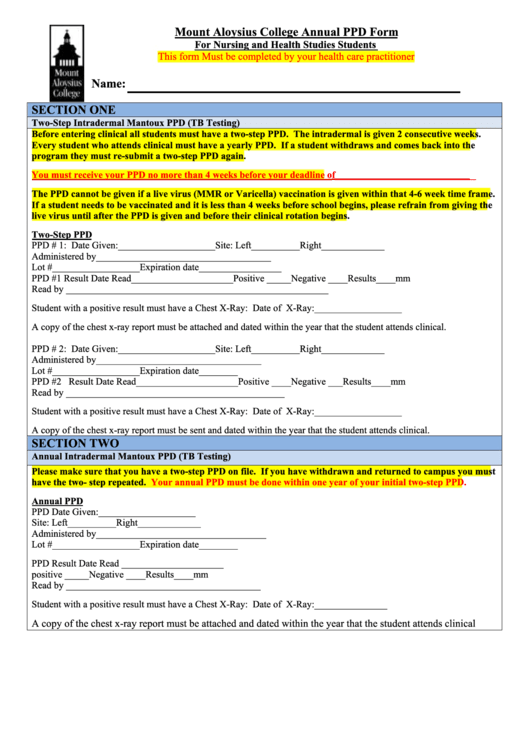 Mount Aloysius College Annual Ppd Form For Nursing And