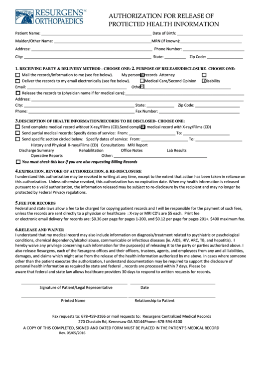 Authorization Form For Release Of Protected Health Information