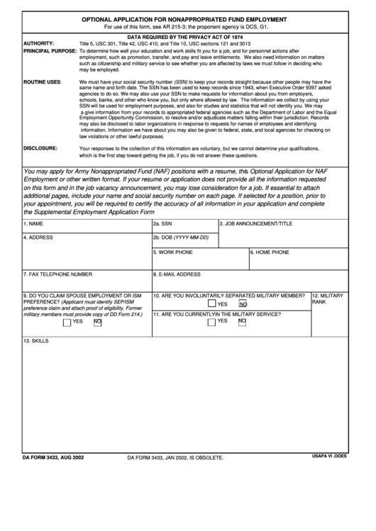 Da Form 3433 - Optional Application For Nonappropriated Fund Employment Template Printable pdf