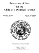 State Form 20234 - Remission Of Fees For The Child Of A Disabled Veteran - Indiana Department Of Veterans Affairs (2004)