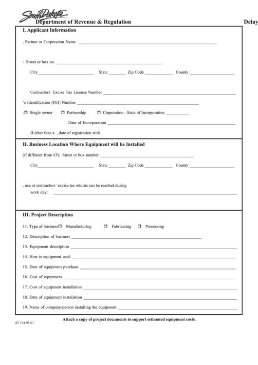 South Dakota Delay In Sales/use Tax Form Printable pdf