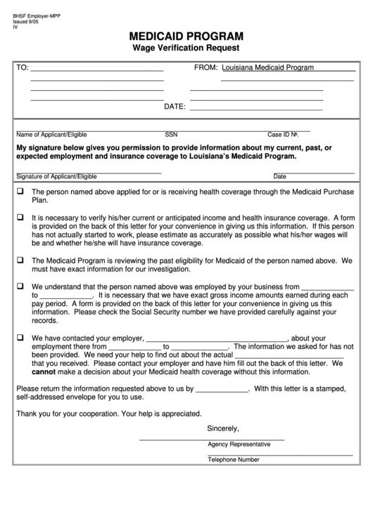 Fillable Louisiana Medicaid Program Wage Verification Request Form Printable pdf