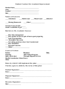 Student Contract For Academic Improvement Form
