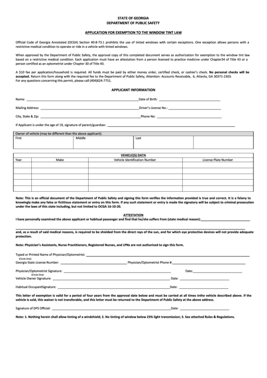 Fillable Application For Exemption To The Window Tint Law Form Printable pdf