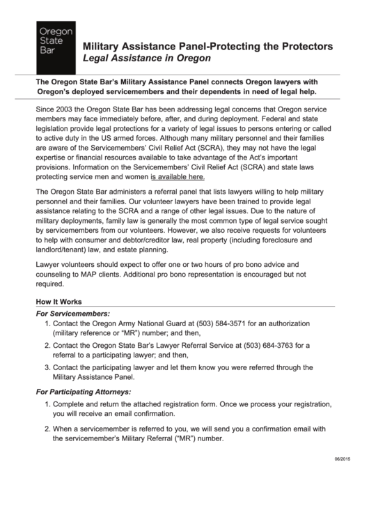 Fillable Military Assistance Panel Program Registration Form Oregon Printable pdf