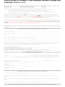 Certification Of Eligibility For Personal Property Exemption Form