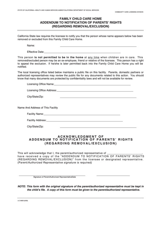 Family Child Care Home Addendum To Notification Of Parents' Rights ...