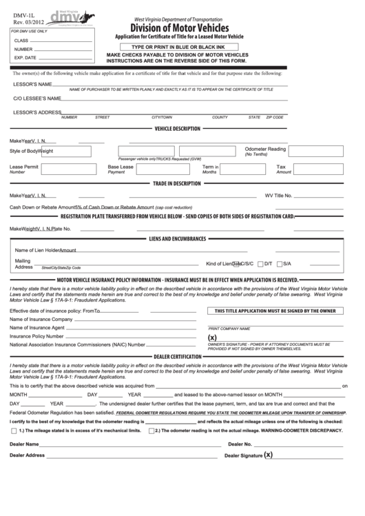 Fillable Application Form For Certifcate Of Title For A Leased Motor Vehicle Printable pdf