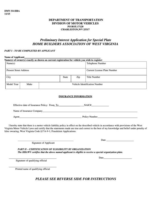 Form Dmv-54-Hba - Preliminary Interest Application For Special Plate Printable pdf