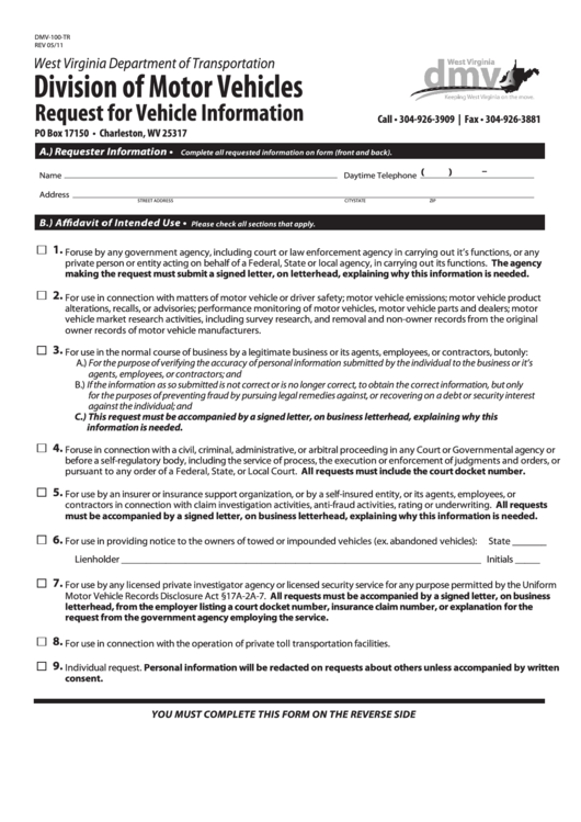 Fillable Request Form For Vehicle Information Printable pdf