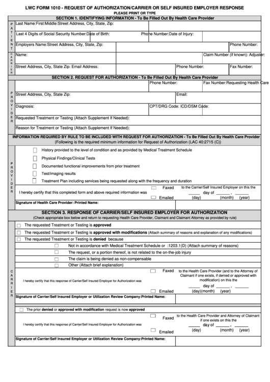 Fillable Lwc Form 1010 Request Of Authorization Carrier