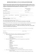 Respirator Medical Evaluation Questionnaire Template