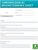 Chronological Brainstorming Worksheet