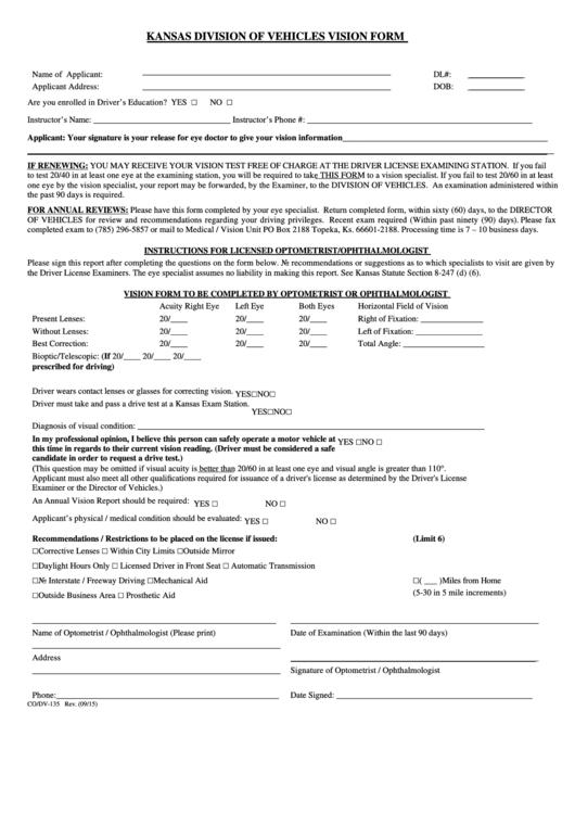 Fillable Form Co/dv-135 - Kansas Division Of Vehicles Vision Form Printable pdf