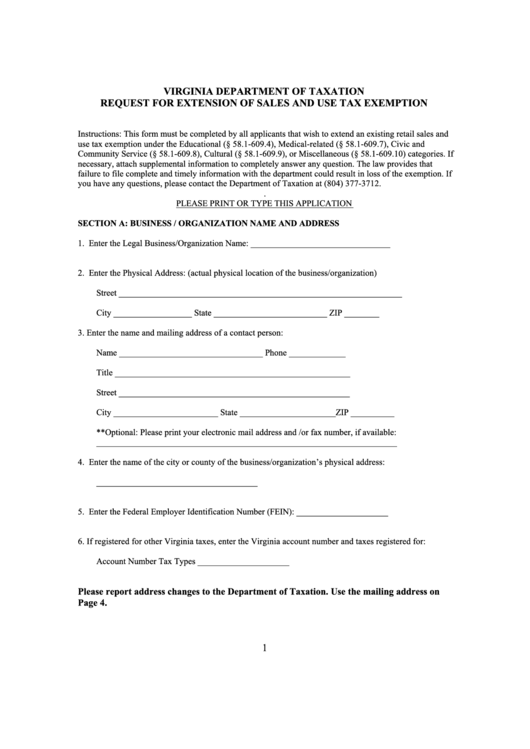 Request Form For Extension Of Sales And Use Tax Exemption - Virginia Department Of Taxation Printable pdf