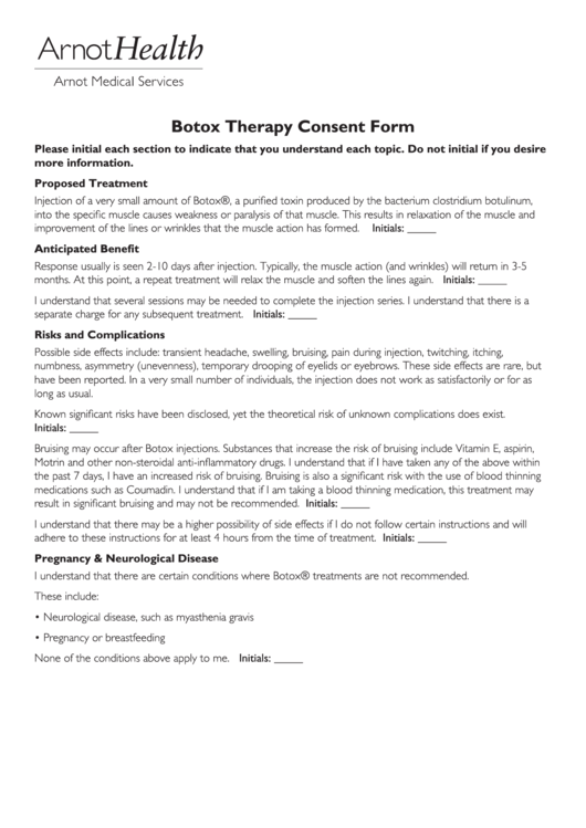 botox therapy consent form printable pdf download