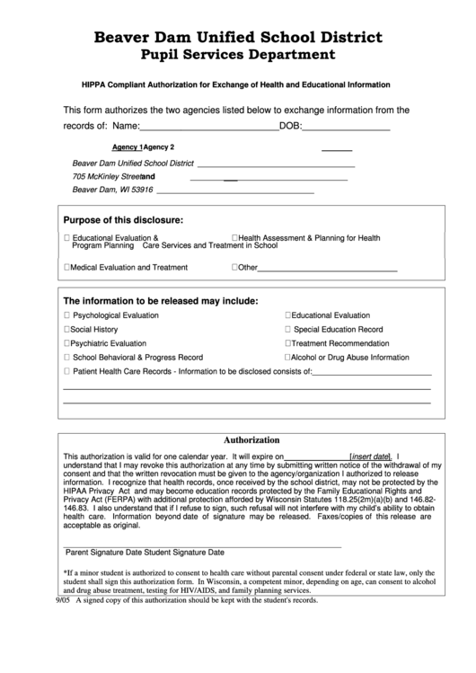 hippa compliant authorization for exchange of health and