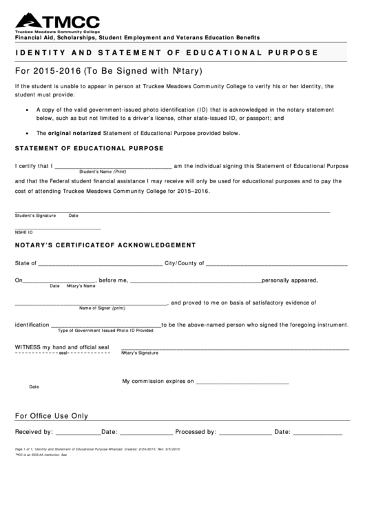 Identity And Statement Of Educational Purpose Form - Truckee Meadows Community College