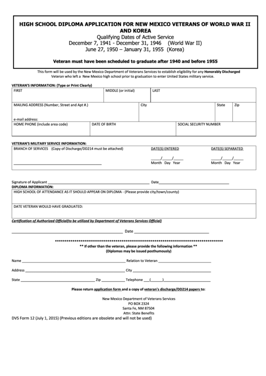 Dvs Form 12 - High School Diploma Application For New Mexico Veterans Of World War Ii And Korea Printable pdf